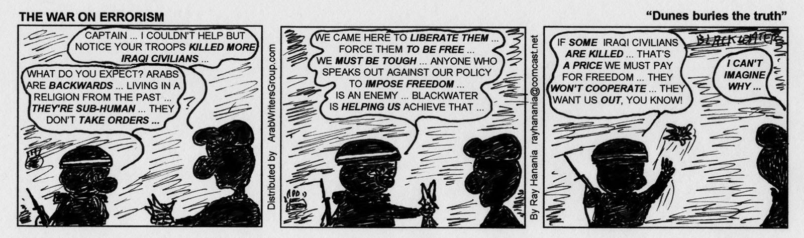 War on Errorism Cartoon Dunes Buries Lies in Iraq10-02-07