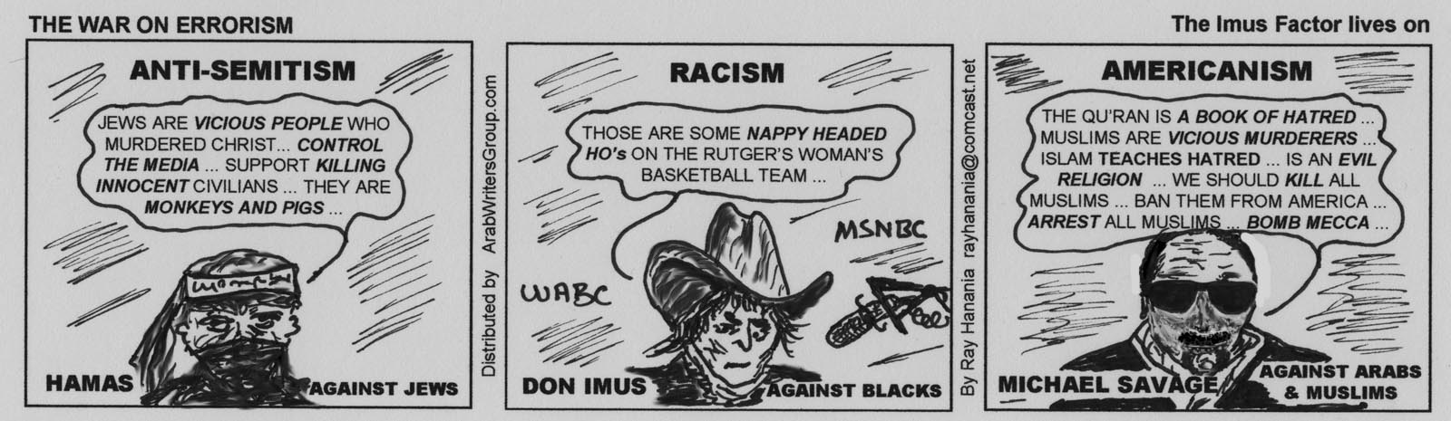 Cartoon anti semitism to racism to americanism for immediate war on errorism cartoon nov 18 2007 hamas don imus malvernweather Image collections