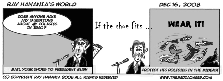 CARTOON: Iraqi shoe-thrower a hero, FOR IMMEDIATE RELEASE, 12-16-08