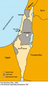 UN Partition Plan, 1947: Yellow areas were to be Jewish. Grey area were to be Christian/Muslim
